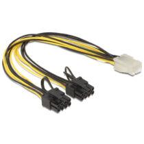 Delock 83433 PCI Express táp 6pin anya/2 x 8pin apa kábel - 0,3m (83433)