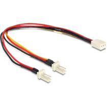Delock kábel, Molex 3 pin anya > 2 x Molex 3 pin apa (ventillátor), 22 cm (89343)