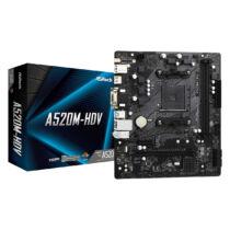 ASRock A520M-HDV - AMD - Socket AM4 - AMD Ryzen 3 3rd Gen - 3rd Generation AMD Ryzen 5 - 3rd Generation AMD Ryzen 7 - 3rd Generation AMD... - DDR4-SDRAM - DIMM - 2133, 2400, 2666, 2933, 3200, 3466, 3600, 3733, 3800, 3866, 4000, 4133, 4200, 4266, 4333, 440
