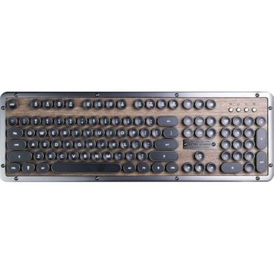 db12ae2b295 AZIO Retro Mecha Keyboard, BT - Walnut Wood w/ Black ZA, US (MK ...
