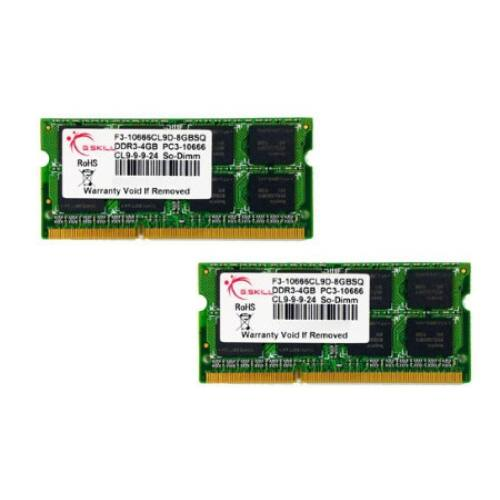 G.Skill 8GB DDR3-1333 SQ - 8 GB - 2 x 4 GB - DDR3 - 1333 MHz - 204-pin SO-DIMM (F3-10666CL9D-8GBSQ)