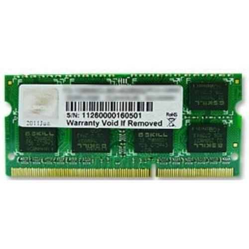 G.Skill 8GB PC3-10600 - 8 GB - 1 x 8 GB - DDR3 - 1333 MHz - 204-pin SO-DIMM (F3-10666CL9S-8GBSQ)