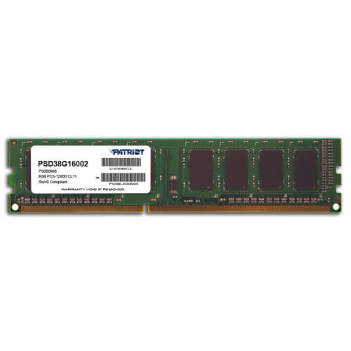 PATRIOT Memory DDR3 8GB PC3-12800 (1600MHz) DIMM - 8 GB - 1 x 8 GB - DDR3 - 1600 MHz - 240-pin DIMM (PSD38G16002)