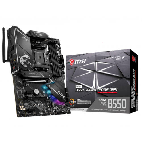 MSI MPG B550 Gaming Edge WiFi - AMD - Socket AM4 - AMD Ryzen - DDR4-SDRAM - DIMM - 1866, 2133, 2667, 2800, 2933, 3000, 3066, 3200, 3466, 3733, 3866, 4000, 4133, 4266, 4400, 4533, 4600, 4733, 4800, 4866,  (7C91-008R)