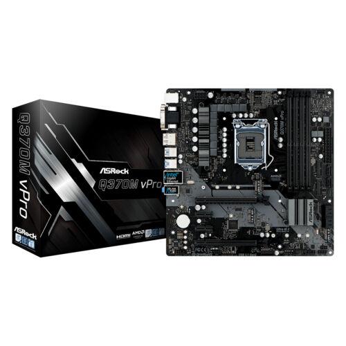 ASRock Q370M vPro - Intel - LGA 1151 (Socket H4) - Intel® Core™ i3 - Intel Core i5 - Intel Core i7 - Intel Core i9 - Intel Pentium G - i3-8xxx, i5-8xxx, i5-9xxx, i7-8xxx, i7-9xxx, i9-8xxx, i9-9xxx - DDR4-SDRAM - DIMM (90-MXB7Q0-A0UAYZ)