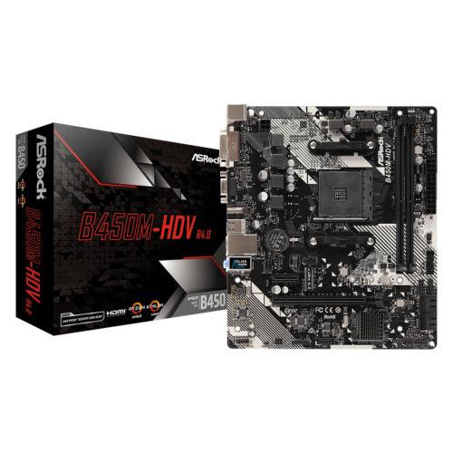 ASRock B450M-HDV R4.0 - AMD - Socket AM4 - AMD Ryzen - DDR4-SDRAM - DIMM - 2133, 2400, 2667, 2933, 3200 MHz (90-MXB9N0-A0UAYZ)