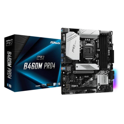 ASRock B460M Pro4 - Intel - LGA 1200 - Intel® Celeron® - Intel® Core™ i3 - Intel Core i5 - Intel Core i7 - Intel Core i9 - Intel® Pentium® - DDR4-SDRAM - DIMM - 2133, 2400, 2666, 2800, 2933 MHz (90-MXBCV0-A0UAYZ)