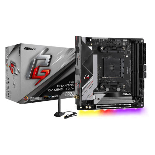 ASRock B550 Phantom Gaming-ITX/a - AMD - Socket AM4 - AMD Ryzen - DDR4-SDRAM - DIMM - 2133, 2400, 2667, 2933, 3200, 3466, 3600, 3733, 3800, 3866, 4000, 4133, 4200, 4266, 4333, 4400, 4466, 4533, 4600, 4666,  (90-MXBD40-A0UAYZ)