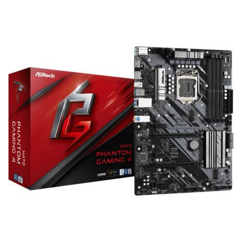 ASRock H470 Phantom Gaming 4 - Intel - LGA 1200 - Intel® Celeron® - Intel® Core™ i3 - Intel Core i5 - Intel Core i7 - Intel Core i9 - Intel® Pentium® - DDR4-SDRAM - DIMM - 2133, 2400, 2666, 2800, 2933 MHz (90-MXBD80-A0UAYZ)