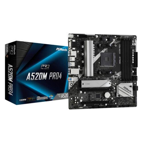 ASRock A520M Pro4 - AMD - Socket AM4 - AMD Ryzen 3 3rd Gen - 3rd Generation AMD Ryzen 5 - 3rd Generation AMD Ryzen 7 - 3rd Generation AMD... - DDR4-SDRAM - DIMM - 2133, 2400, 2667, 2933, 3200, 3466, 3600, 3733, 3800, 3866, 4000, 4133, 4200, 4266, 4333, 44