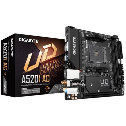 Gigabyte A520I AC - AMD - Socket AM4 - AMD Ryzen 3 3rd Gen - 3rd Generation AMD Ryzen 5 - 3rd Generation AMD Ryzen 7 - 3rd Generation AMD... - Socket AM4 - DDR4-SDRAM - DIMM (A520I AC)