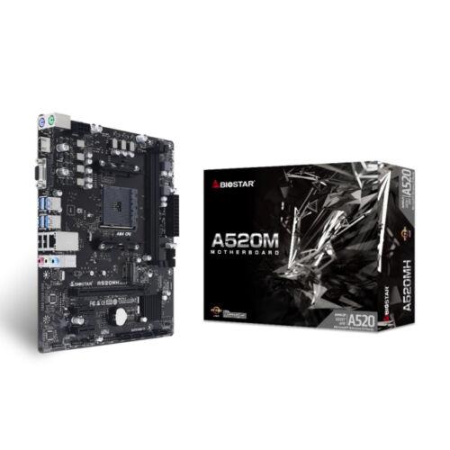 Biostar A520MH - AMD - AMD Ryzen 3 - DDR4-SDRAM - DIMM - 1866, 2133, 2400, 2667, 2933, 3200, 3600, 3800, 4000, 4400, 4600, 4800 MHz - Realtek RTL8111H (A520MH)