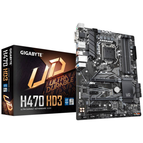 Gigabyte H470 HD3 - Intel - LGA 1200 - Intel® Celeron® - Intel® Core™ i3 - Intel Core i5 - Intel Core i7 - Intel Core i9 - Intel® Pentium® - DDR4-SDRAM - DIMM - 2133, 2400, 2666, 2933 MHz (H470 HD3)